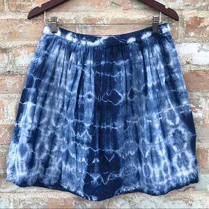 Tie Dye Skirt Madewell Mini Full Blue White Linen